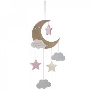 Drewniana zawieszka do łóżeczka – księżyc