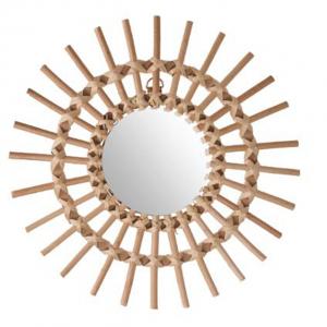 Rustykalne lustro ratanowe – słońce Ø 30 cm