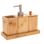 Bambusowy zestaw akcesoriów łazienkowych