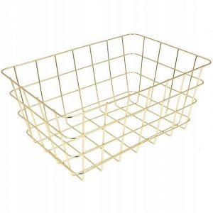 Metalowy koszyk do przechowywania warzyw – złoty