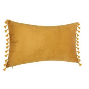 Aksamitna poduszka dekoracyjna z frędzlami 50×30