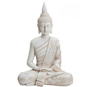 Figura Budda – Kwiat lotosu biała 40 x 27 x 16 cm