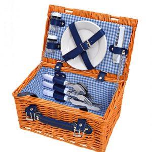 Wiklinowy kosz piknikowy dla dwóch osób – z wyposażeniem 12 el