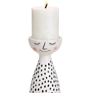 Świecznik ceramiczny z wizerunkiem dziewczynki