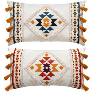 Poduszka dekoracyjna z frędzlami w stylu boho/etno/folk 50×30