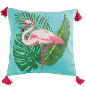 Poduszka dekoracyjna z frędzlami i motywem flaminga