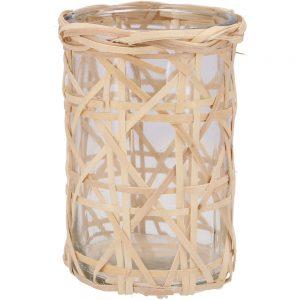 Lampion Bruno szklany z trawą morską