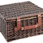 Wiklinowy kosz piknikowy dla dwóch osób brązowy – z wyposażeniem 12 el.
