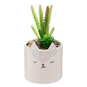 Sztuczna roślina w doniczce z motywem lisa