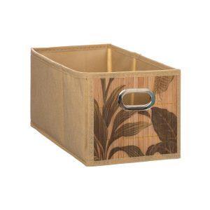 Bambusowy pojemnik do przechowywania z motywem liści