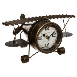 Metalowy zegar stołowy w kształcie samolotu