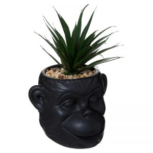 Sztuczna roślina w doniczce w kształcie małpy