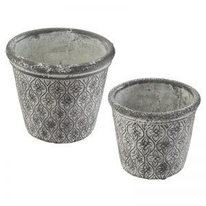 Zestaw doniczek ceramicznych x2 stylizowanych na postarzałe