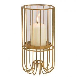Metalowy lampion z w stylu glamour 20 cm złoty
