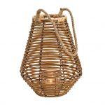 Lampion z drewna bambusowego z jutowym uchwytem