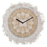 Drewniany zegar ścienny z ozdobną makramą 38 cm