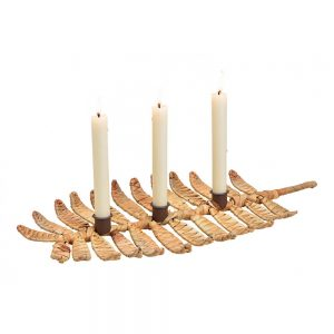 Świecznik z hiacyntu wodnego na trzy świece